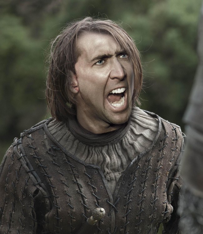 Nicolas Cage as Arya Stark, Game of Thrones cast