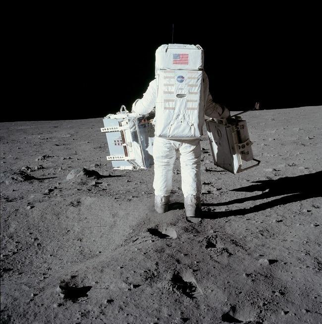 Apollo 11 photos Aldrin carrying equipment