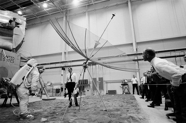Apollo 11 photos testing with satellite dish