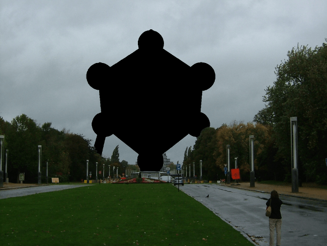 A blacked out Atomium in Belgium