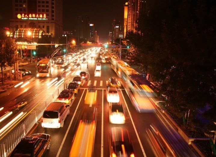 Beijing road at night