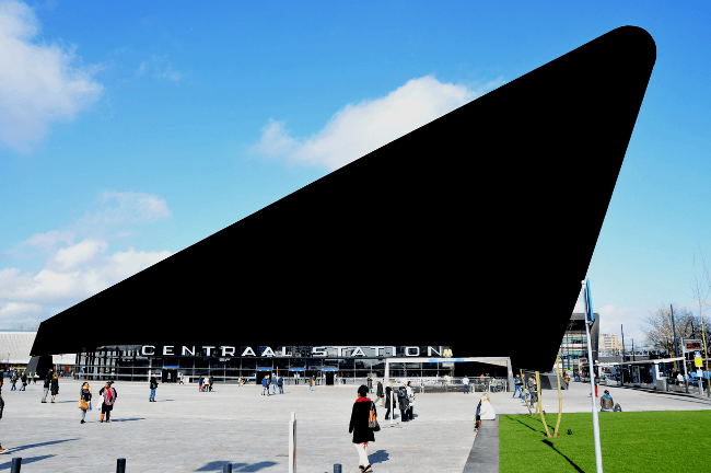 A censored Rotterdam Central train station