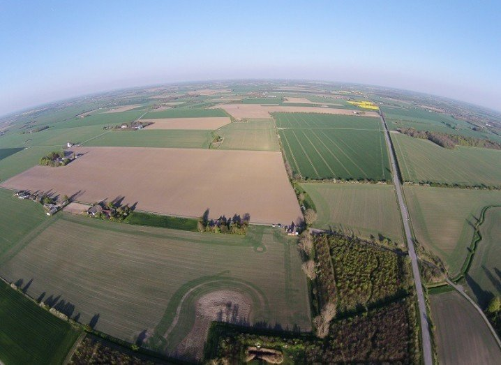 Drone image above farmland