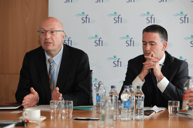 SFI's director-general, Prof Mark Ferguson and Damien English TD, Minister for Skills, Research and Innovation. Image via Connor McKenna