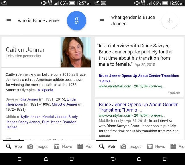 Google Now Caitlyn Jenner