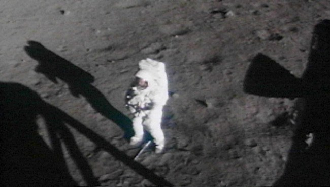 Neil Armstrong space suit on the moon