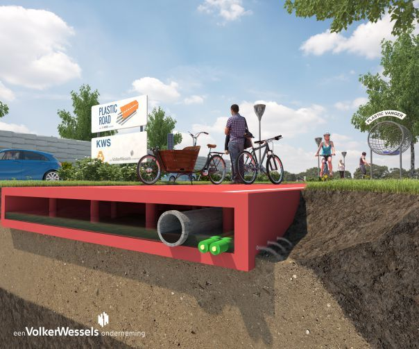Plastic Road concept image with hollow