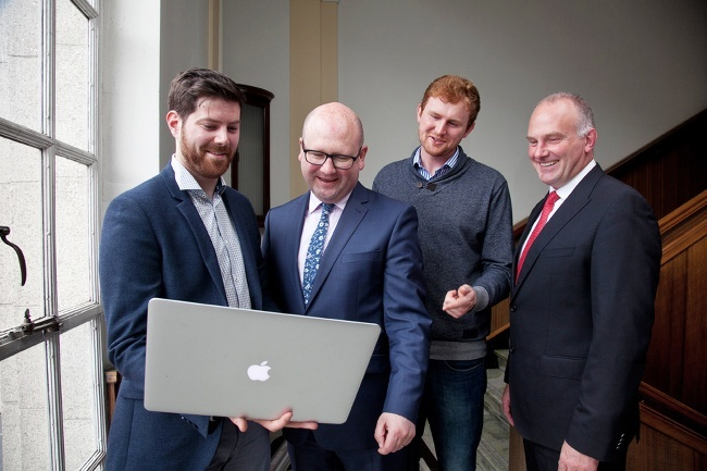 Developer jobs in Dublin - Colm Browne, director of European operations with ProSeeder Technologies, Minister for Business and Employment Ged Nash, Lorcan Wogan, software engineer at ProSeeder Technologies and Michael McLoughlin, CEO of ConnectIreland.