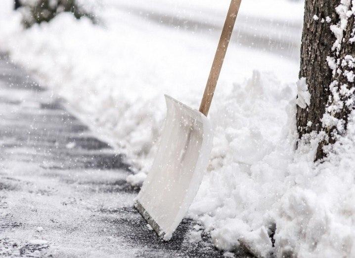 Shovel in ice
