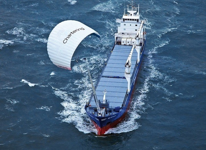 Irish smart kite above ship