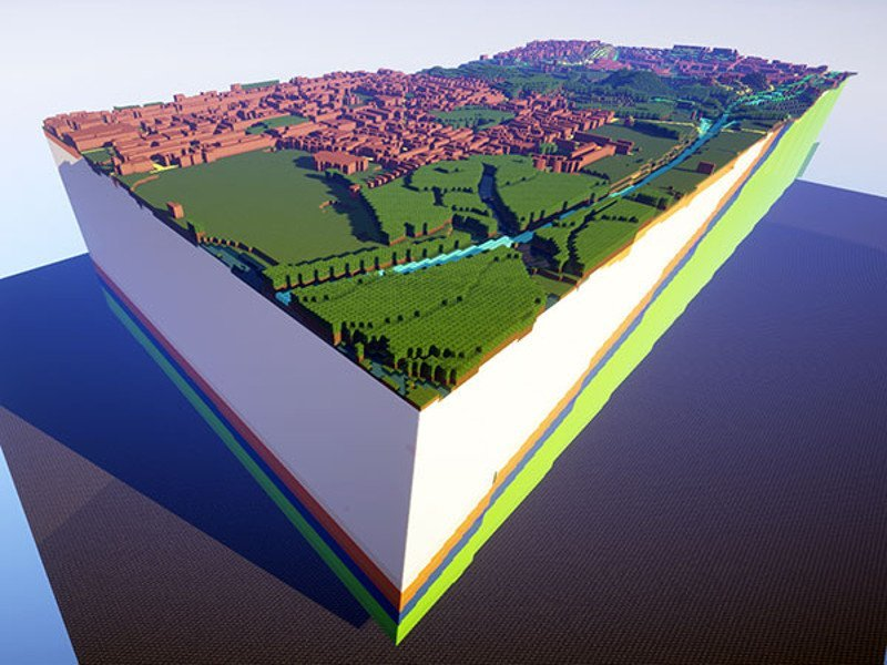 Minecraft used to recreate UK towns and countryside