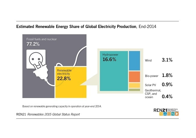 World renewable energy report 2015 statistics