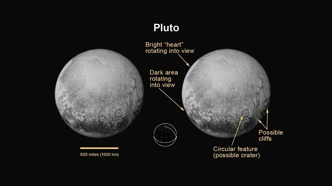 Annotated image of Pluto