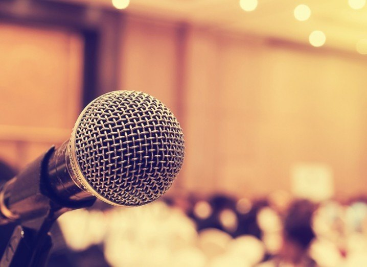 50/50 Pledge: microphone at conference event