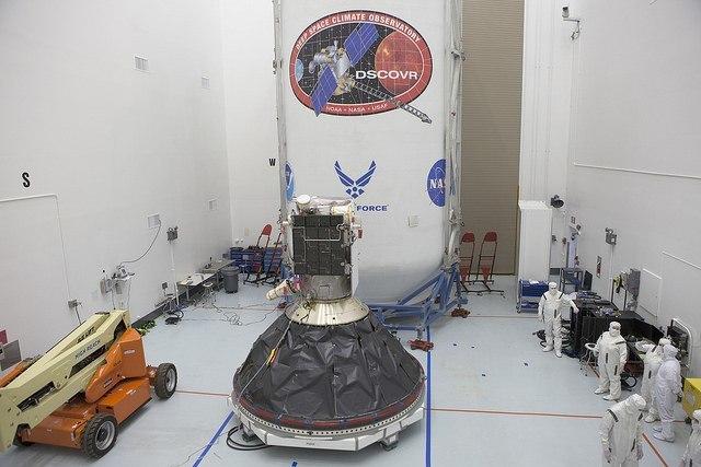 DSCOVR during launch preparations. Image via NASA/Kim Shiflett