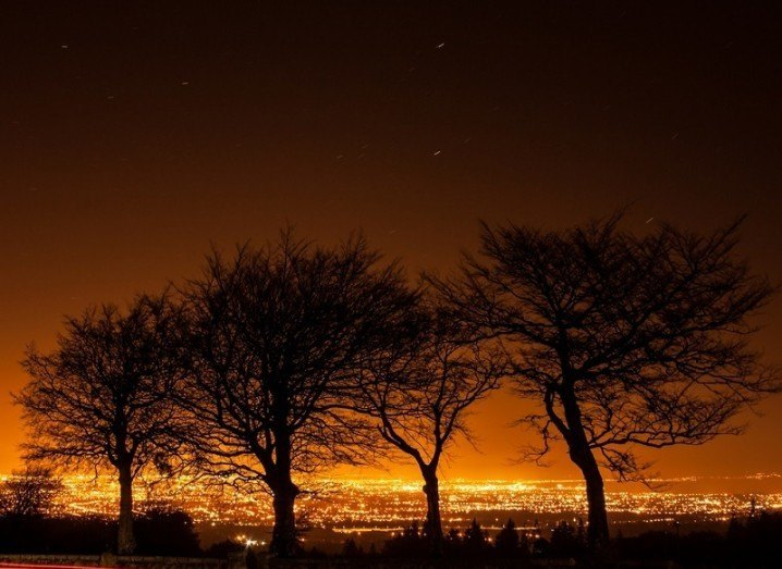 Light pollution over Dublin