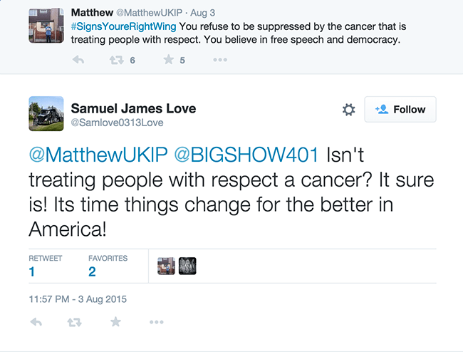 PC2Respect: Samuel tweets treating people with respect is a cancer