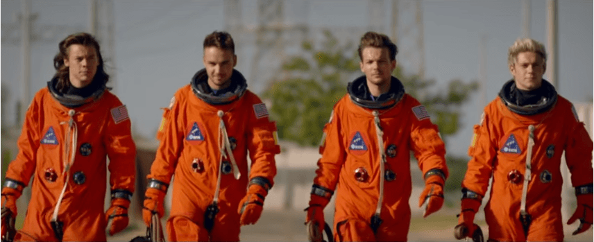 1D as astronauts. Image via YouTube