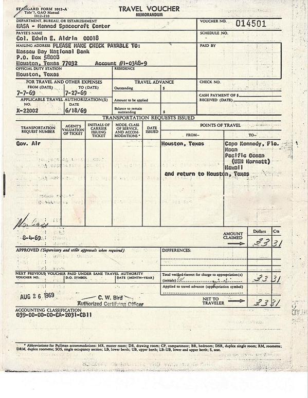 Apollo 11 travel expense form
