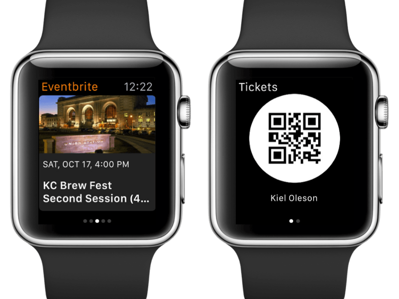 Eventbrite brings ticketing to Apple Watch, Android Wear and Pebble