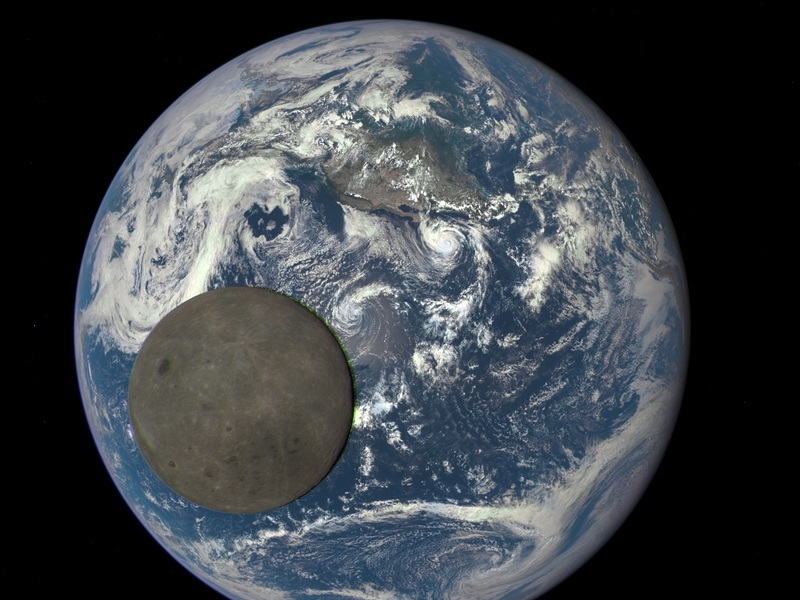 EPIC image of moon crossing face of Earth
