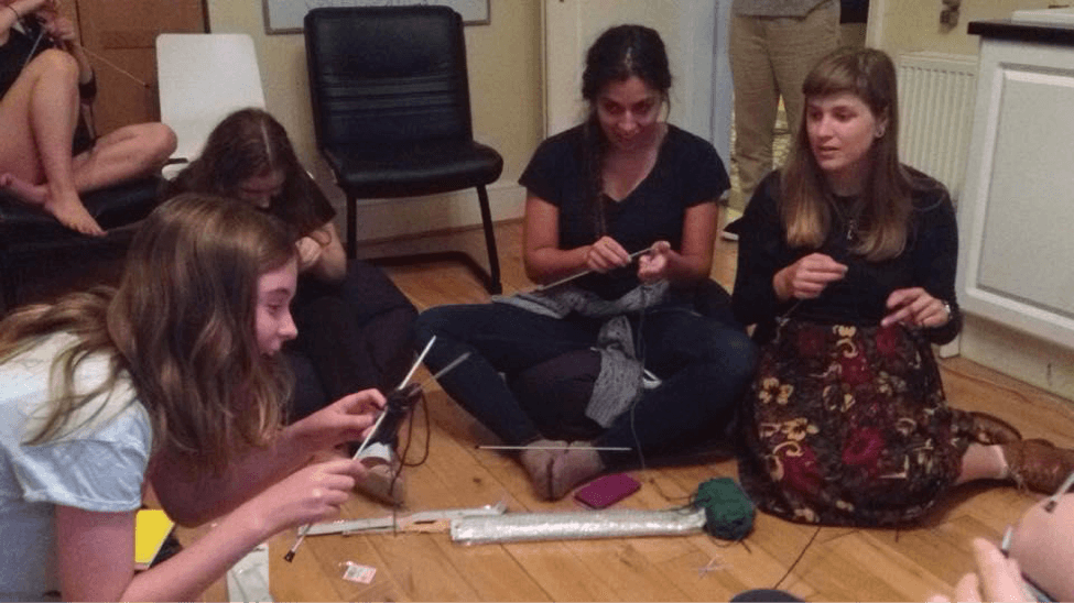 Knitting at Outbox Incubator