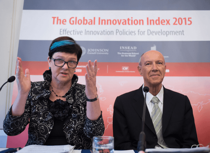 Baroness Neville-Rolfe, UK Minister for Intellectual Property and WIPO Director General Francis Gurry at Global Innovation Index launch in London
