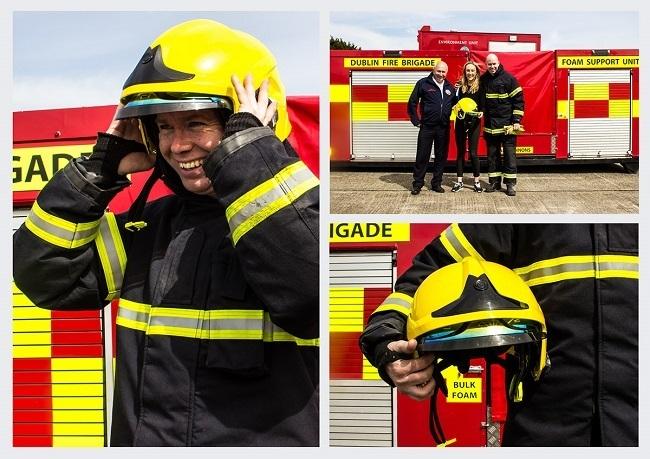 Eilis Delaney with members of Dublin Fire Brigade testing the Sense. Image via Itziar Telletxea Rocha