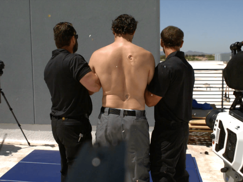 Shot by a taser gun, on bare skin, in super slow motion (video)