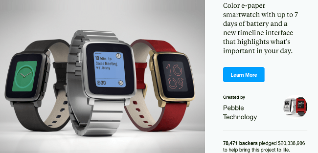 Top Kickstarter Campaigns Pebble