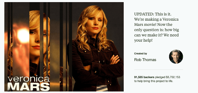 Top Kickstarter Campaigns Veronica Mars Movie