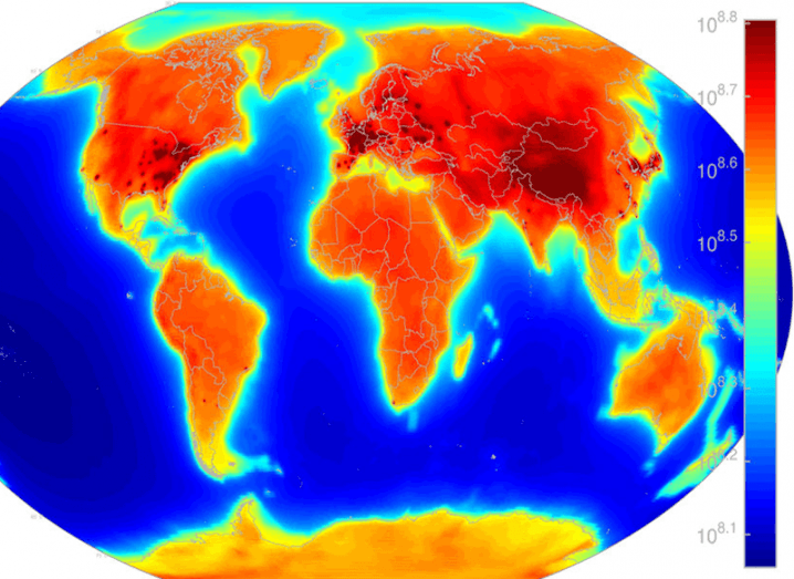 Radioactive flux map of Earth