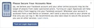 Facebook notification message