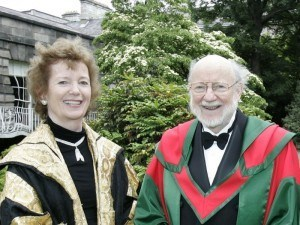 Nobel Prize: William Campbell accepts honorary degree from Trinity College Dublin in 2012. Pictured with former President of Ireland Mary Robinson
