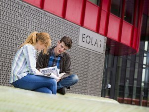 Students outside the new Eolas building, Maynooth University