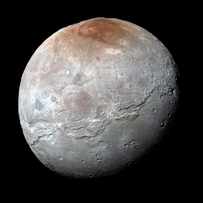 Charon close-up in enhanced colour