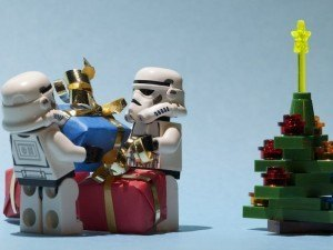 Lego Star Wars stormtroopers stacking gifts next to tree