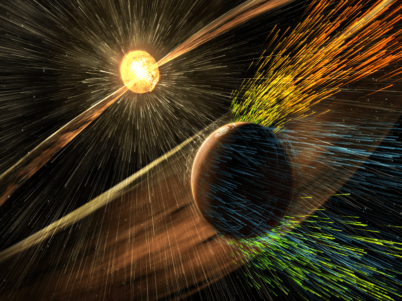 Solar winds are stripping the Martian atmosphere at 100g/s