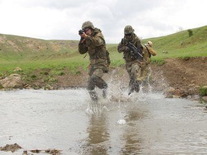 US military soliders in battle