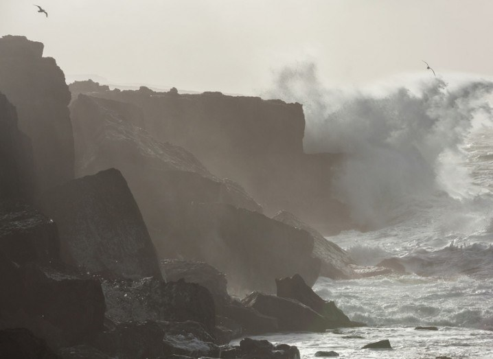 Teresa Mannion: storm battering cliffs
