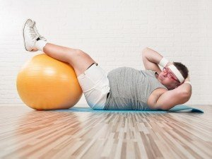 Obesity: Obese person working out