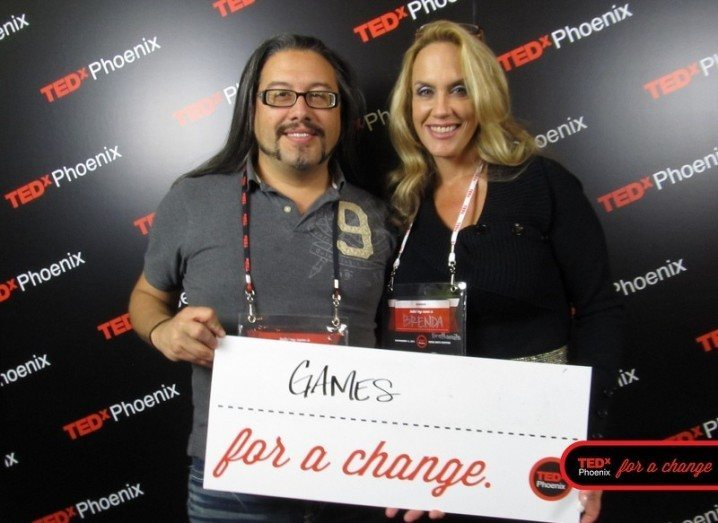 Doom developer John Romero with game designer (and wife) Brenda Romero at TEDxPhoenix