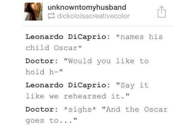 Oscar: Leo calls his child Oscar