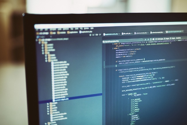 Courses: computer screen with code