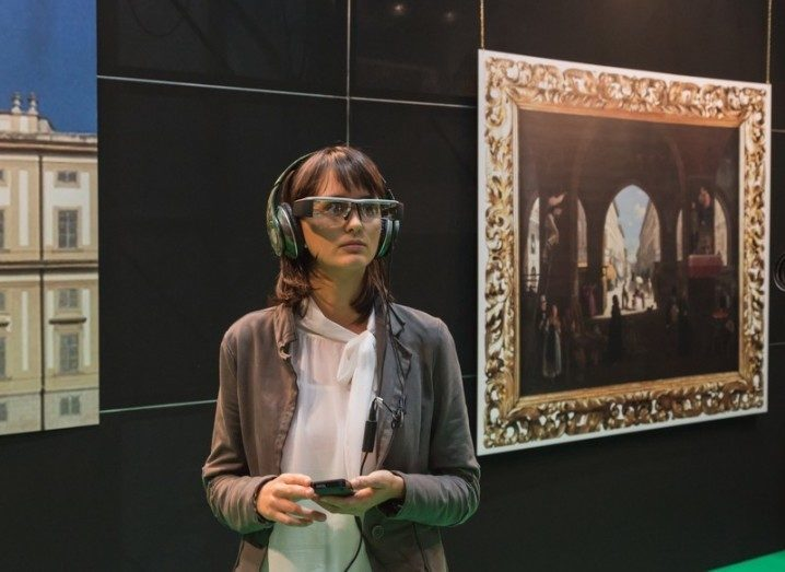 Woman wearing augmented reality headset