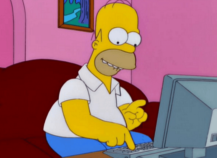 Simpsons search engine: Homer using computer