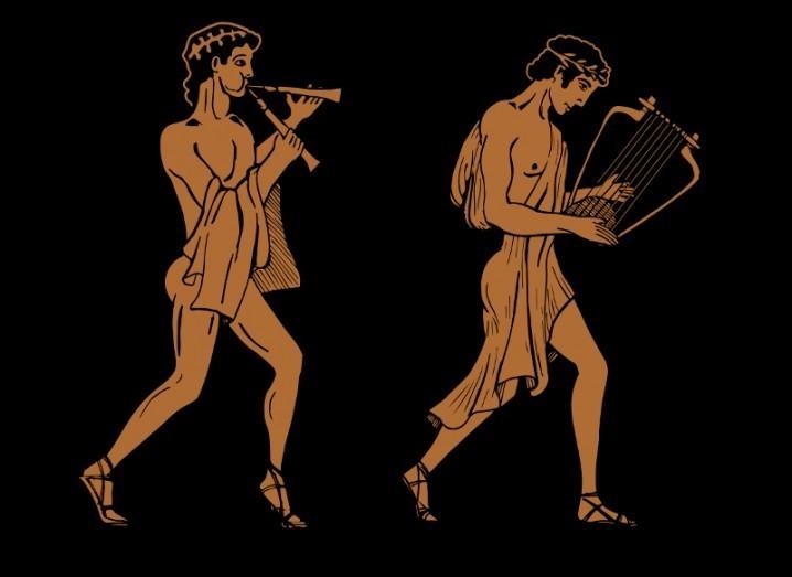 Mythological Grecian urn style musicians