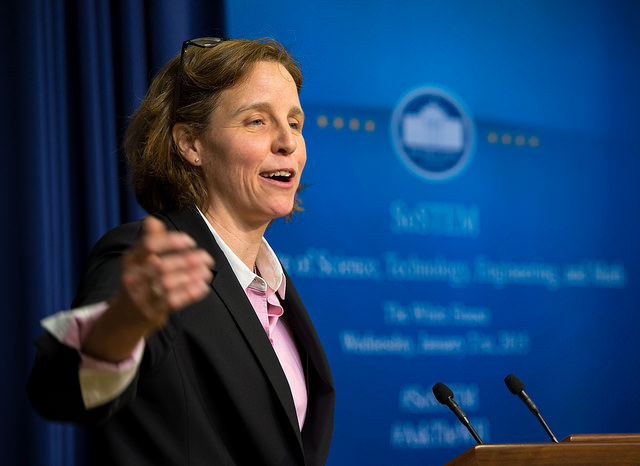 White House CTO Megan Smith speaking during the White House's annual State of STEM address last year. Image via Flickr/NASAHQ