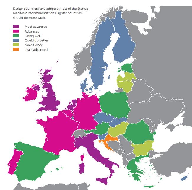 Europe map start-ups
