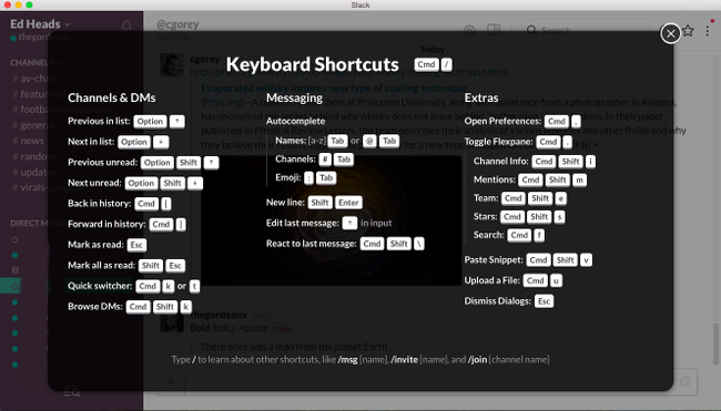 Keyboard Shortcuts Slack